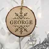 Personalised Engraved Snow Flake Christmas Tree Decoration - Personally Presented