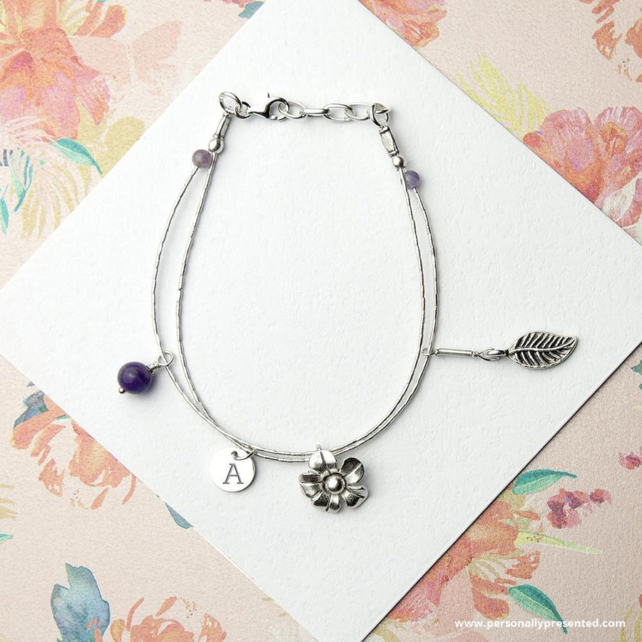 Personalised Forget Me Not Friendship Bracelet With Amethyst Stones - Personally Presented