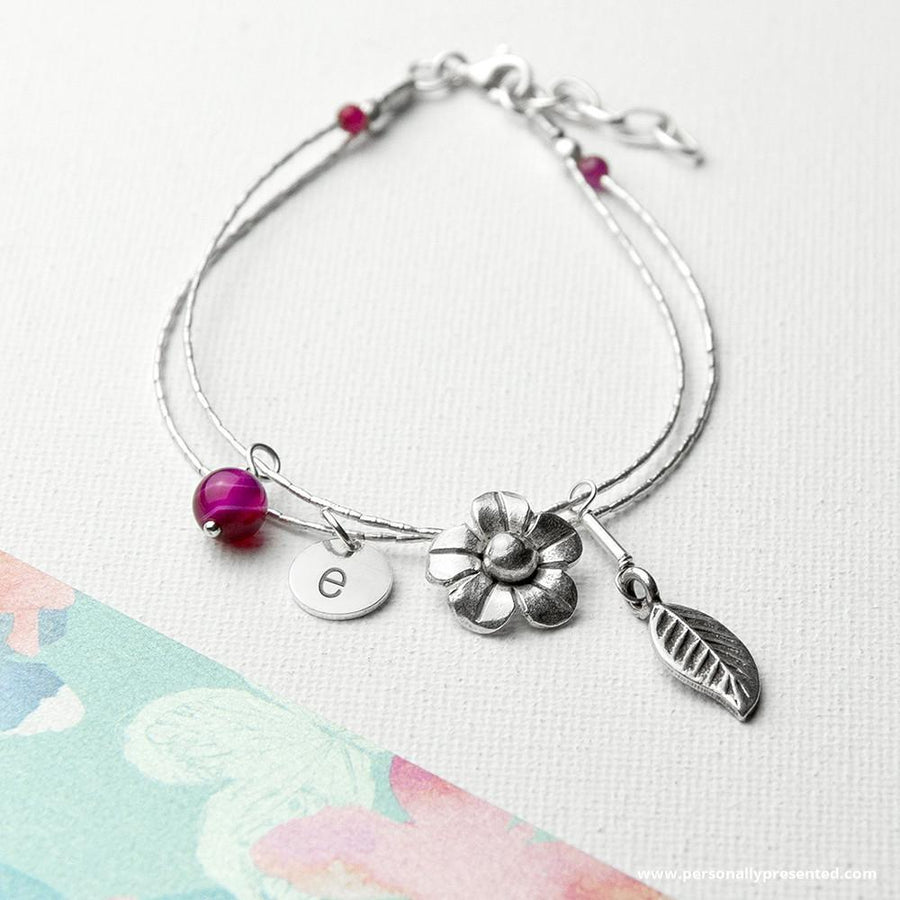 Personalised Forget Me Not Friendship Braclet With Indian Ruby Stones