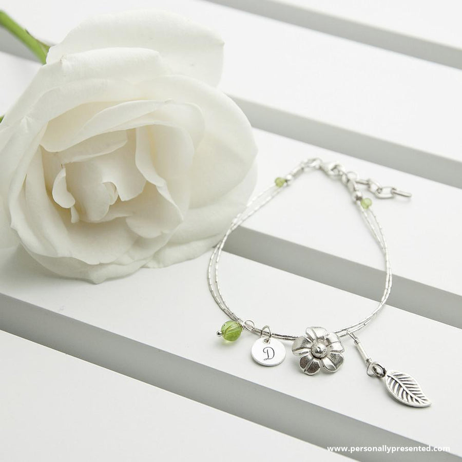 Personalised Forget Me Not Friendship Bracelet With Peridot Stones - Personally Presented