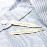 Personalised Gold Plated Secret Message Collar Stiffener - Personalised Gift From Personally Presented