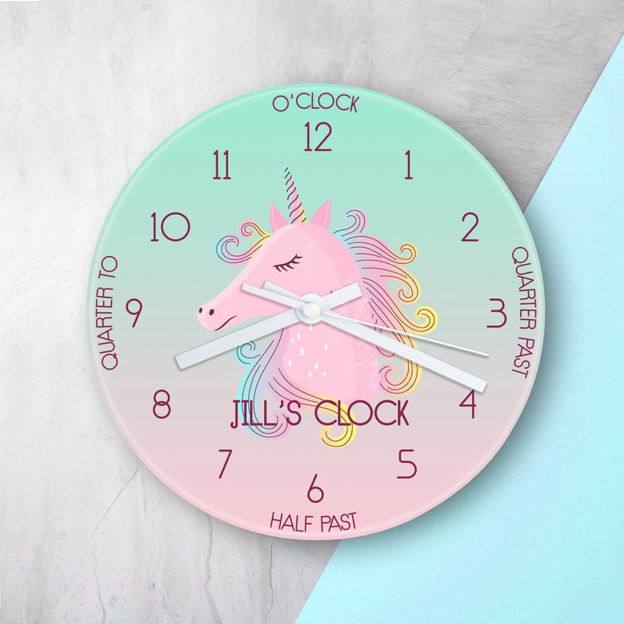 PERSONALISED KIDS UNICORN GLASS CLOCK - Personalised Gift From Personally Presented