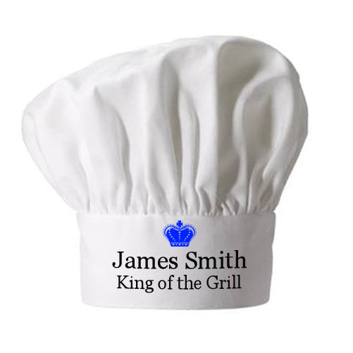 Personalised King of the Grill Chef Hat - Personalised Gift From Personally Presented