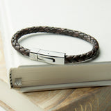 Personalised Men's Leather Bracelet With Tube Clasp - Personalised Gift From Personally Presented