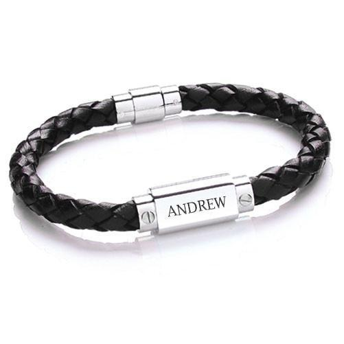 Personalised Mens Leather Bracelet - Personally Presented