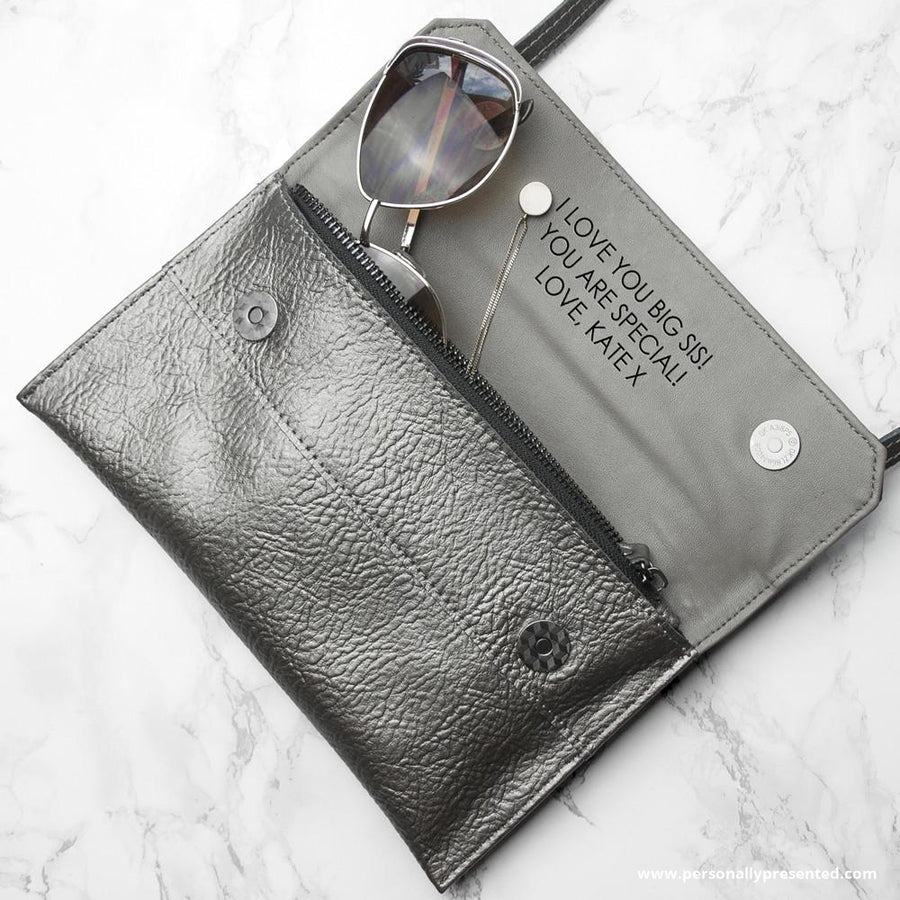 Personalised Metallic Leather Clutch Bag - Personalised Gift From Personally Presented