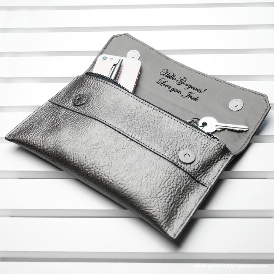 Personalised Metallic Leather Clutch Bag - Personally Presented