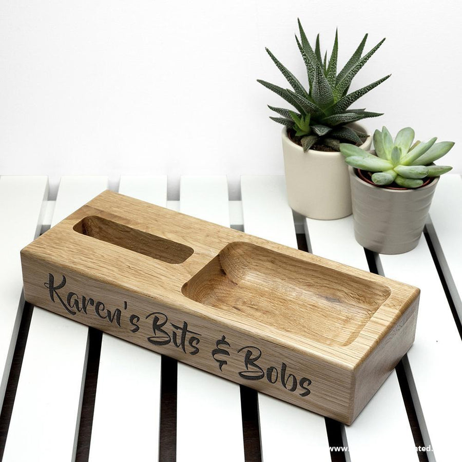 Personalised Oak Technology Stand - Personalised Gift From Personally Presented