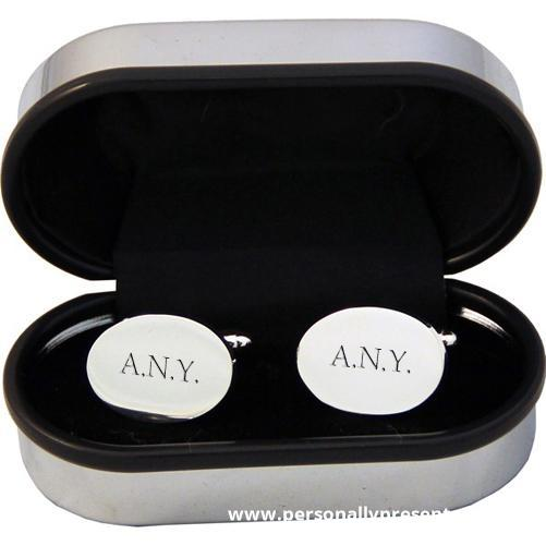 Personalised Oval Silver Plated Cufflinks - Personalised Gift From Personally Presented