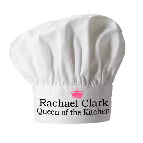 Personalised Queen of the Kitchen Chef Hat - Personalised Gift From Personally Presented