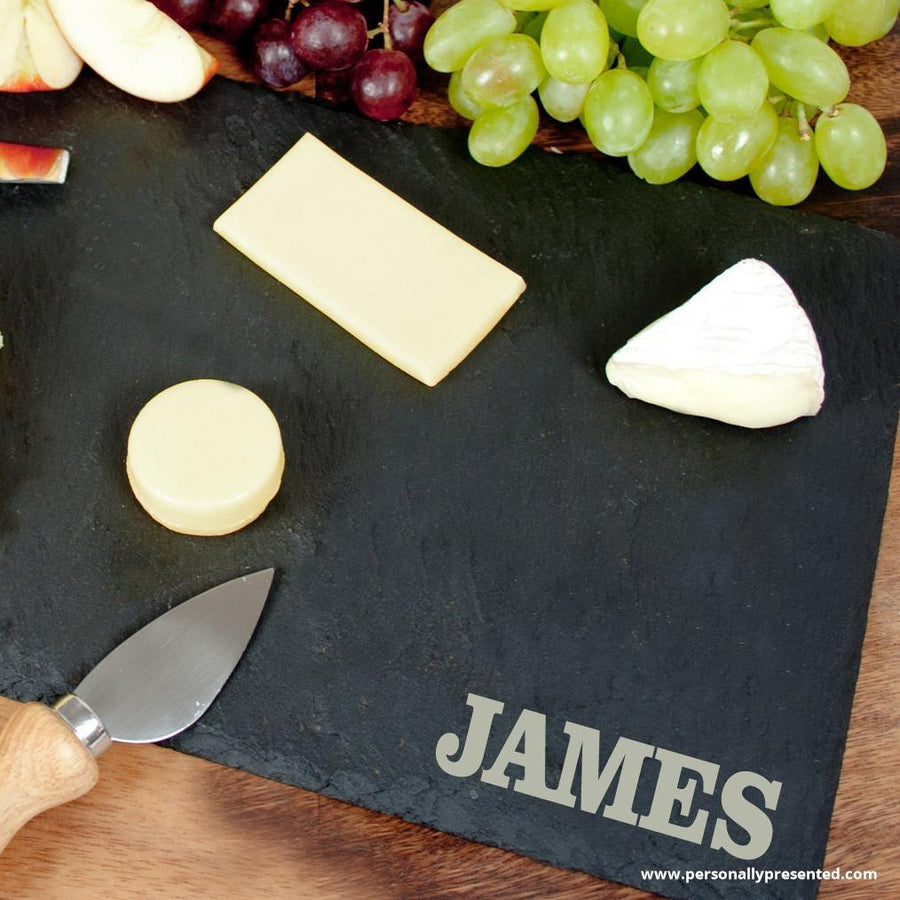 Personalised Rustic Slate Cheese Board - Personally Presented