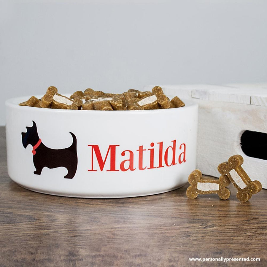 Personalised Scottie Dog Food Bowl - Personalised Gift From Personally Presented