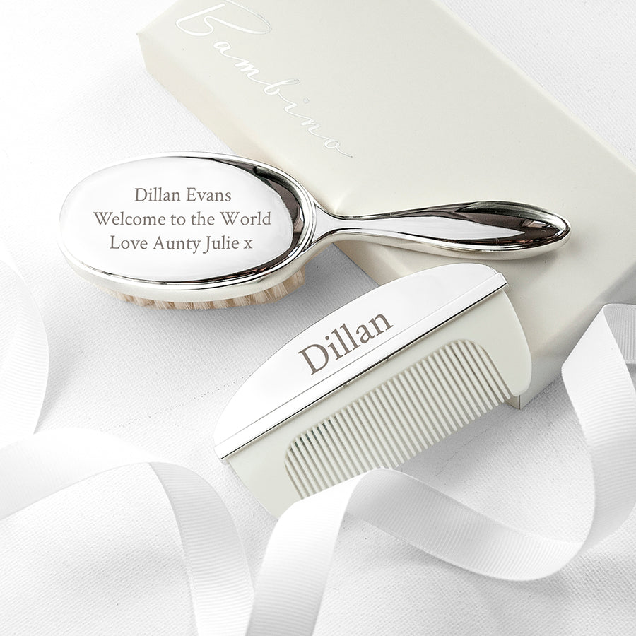 Personalised Silver Plated Baby Brush And Comb Set - Personalised Gift From Personally Presented