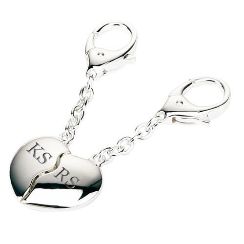 Personalised Silver Plated Joining Hearts Keyrings - Personalised Gift From Personally Presented