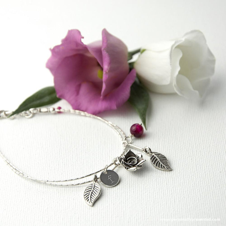 Personalised English Rose Bracelet With Indian Ruby Stones - Personalised Gift From Personally Presented