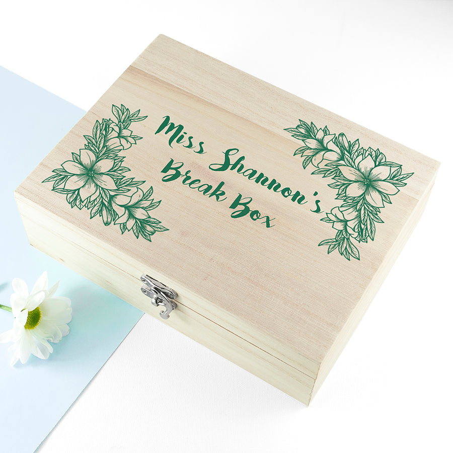 Personalised Teacher's Tea Break Box Floral Design