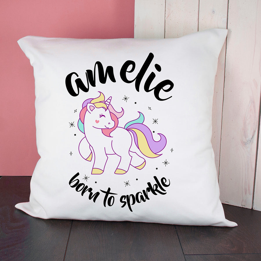 Personalised Unicorn Born To Sparkle Cushion Cover. - Personalised Gift From Personally Presented