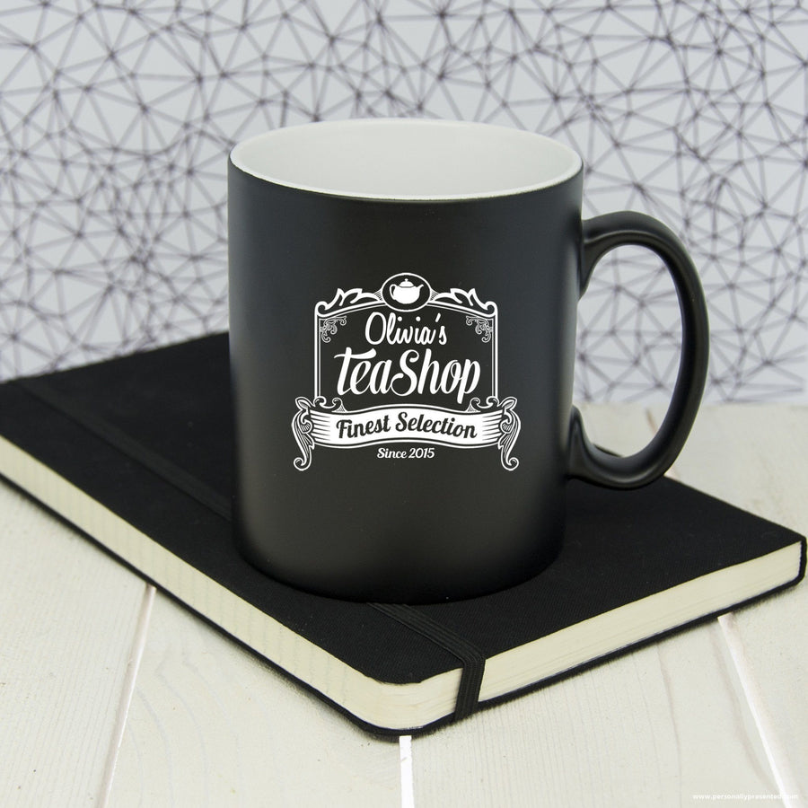 Personalised Silhouette Tea Shop Mug - Personalised Gift From Personally Presented