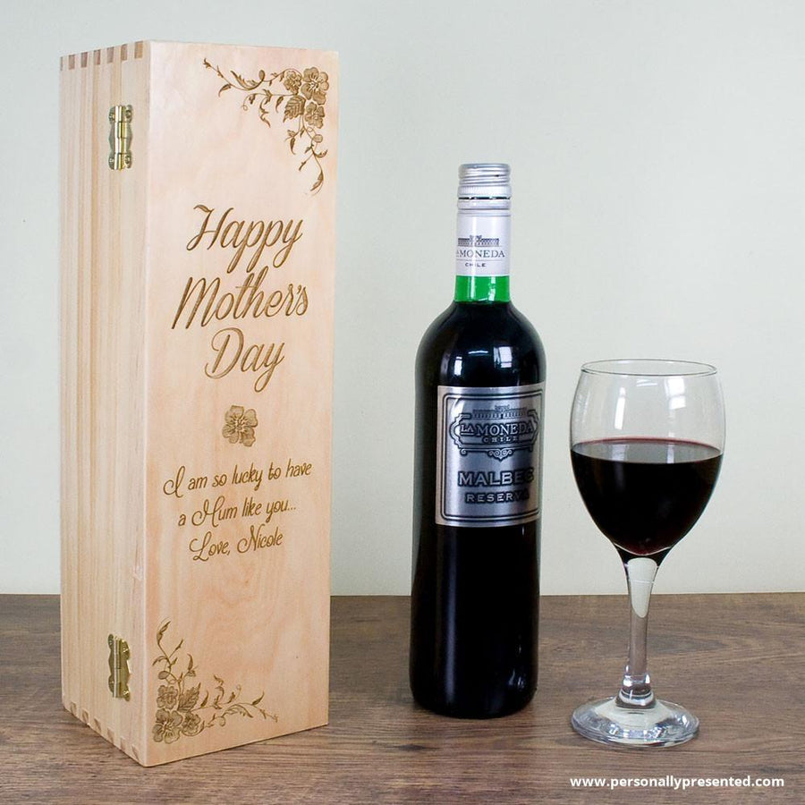 Personalised Mother's Day Wine Box With Floral Corners - Personalised Gift From Personally Presented