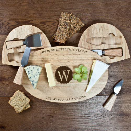 Personalised The Importance of Age Classic Wooden Cheese Board Set - Personalised Gift From Personally Presented