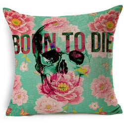 Born to Die Skull Throw Pillow