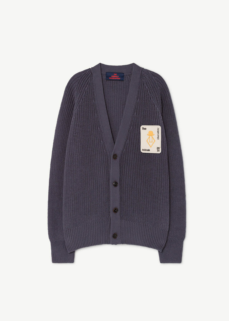 PLAIN RACOON CARDIGAN - NAVY