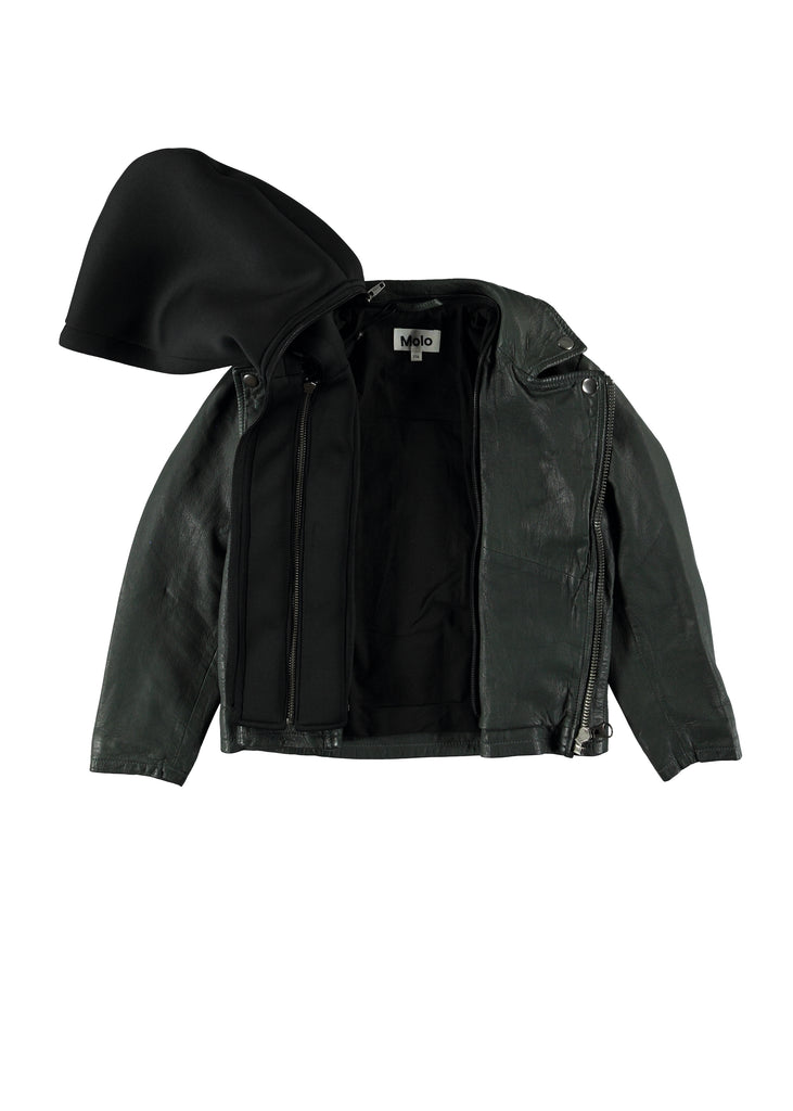 HOLTTI LEATHER JACKET - PINE GREEN
