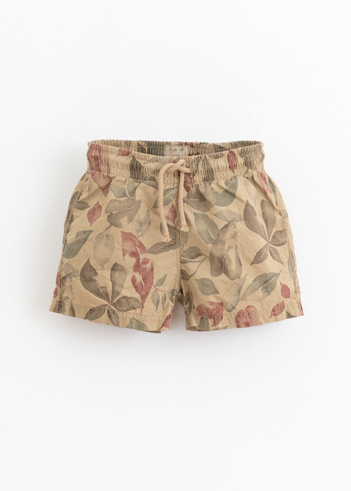LEAF PRINT POPLIN SWIM SHORTS