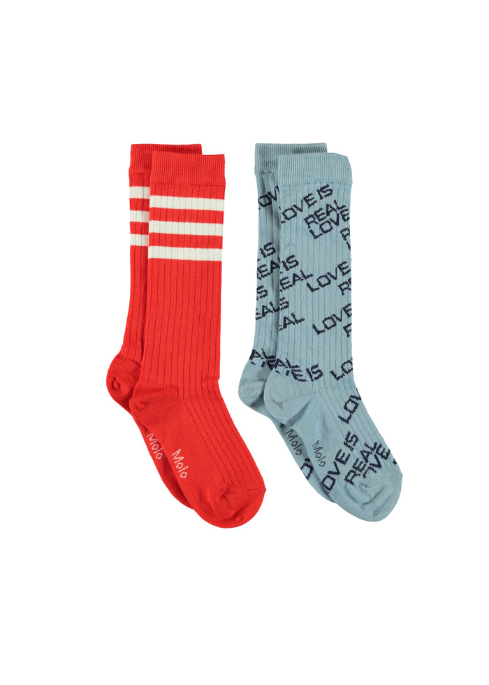 NORVINA SOCKS -2 PACK - BLUE/RED