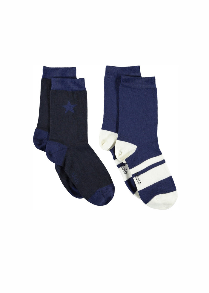 NITIS SOCKS 2 - PACKS - BLUE/WHT