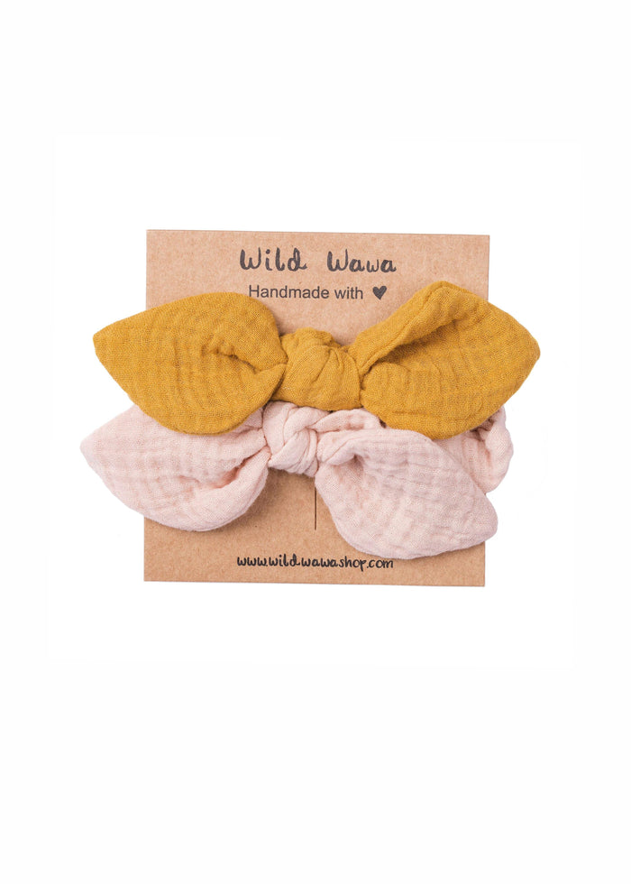 GAUZE BOW HEADBAND - SET OF 2