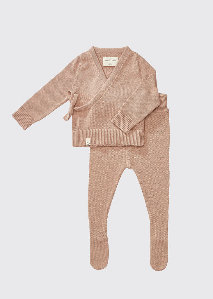 KNIT WRAP TOP + FOOTIE SET - NUDE