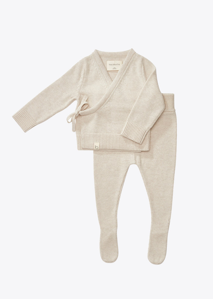 KNIT WRAP TOP + FOOTIE SET - OATMEAL