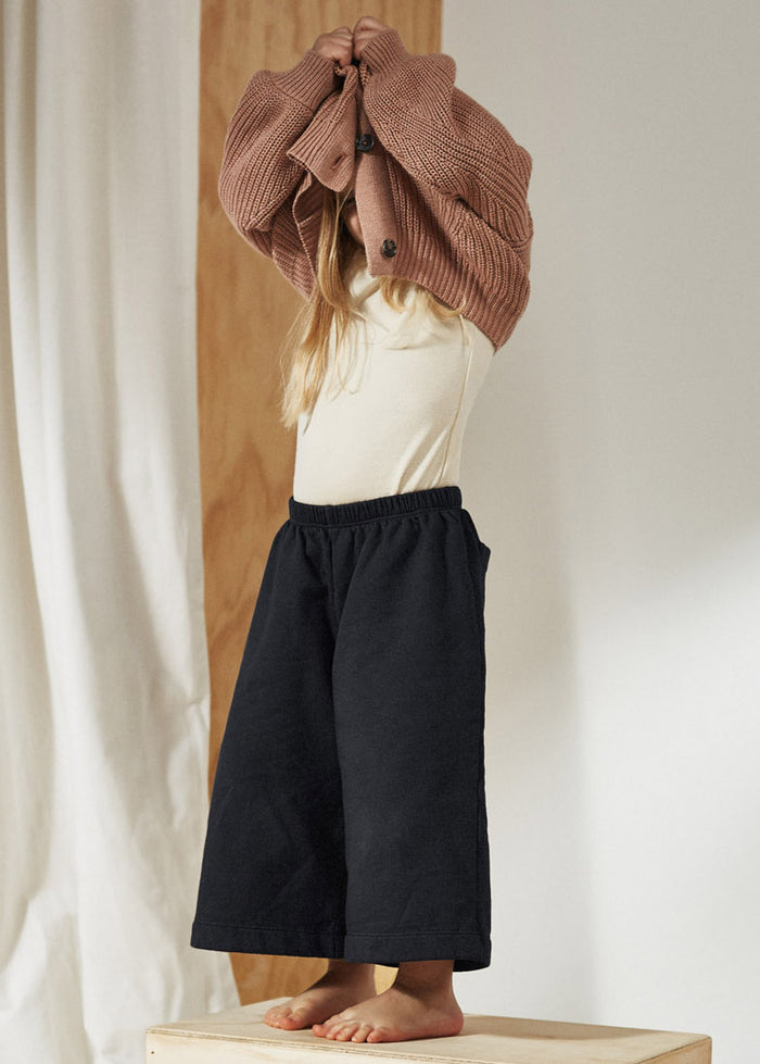 FLEECE WIDE PANT - WASHED BLACK