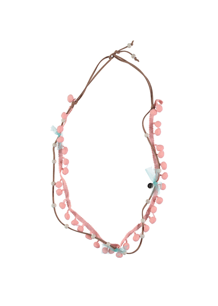 BUHO POMPOM NECKLACE - ROSE