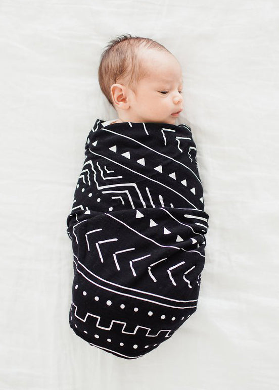 LUXE MUSLIN SWADDLE - BLACK MUDCLOTH