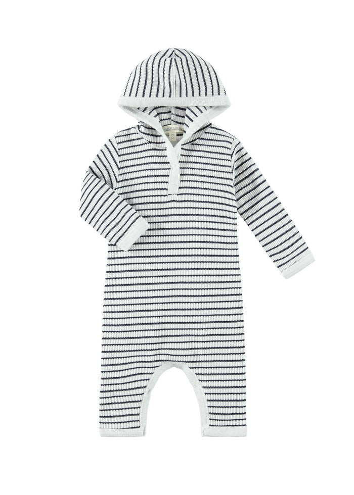 STRIPE HOODED COVERALL - OFF WHITE