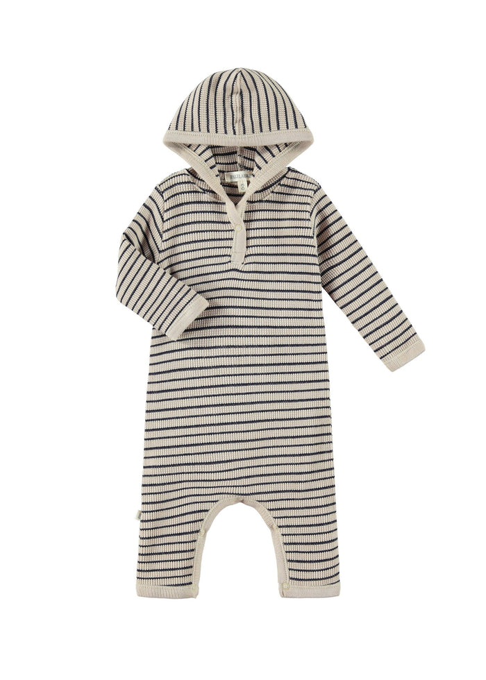 STRIPE HOODED COVERALL - CAMEL