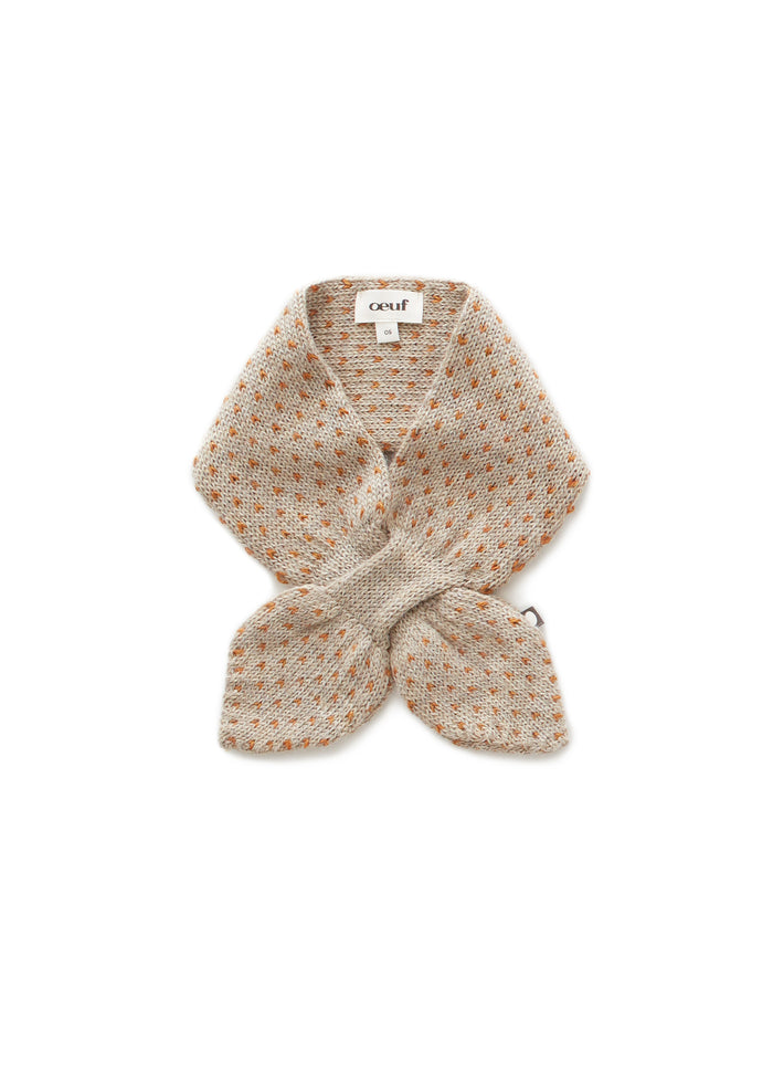 KNIT NECK TIE - GREY/OCHER