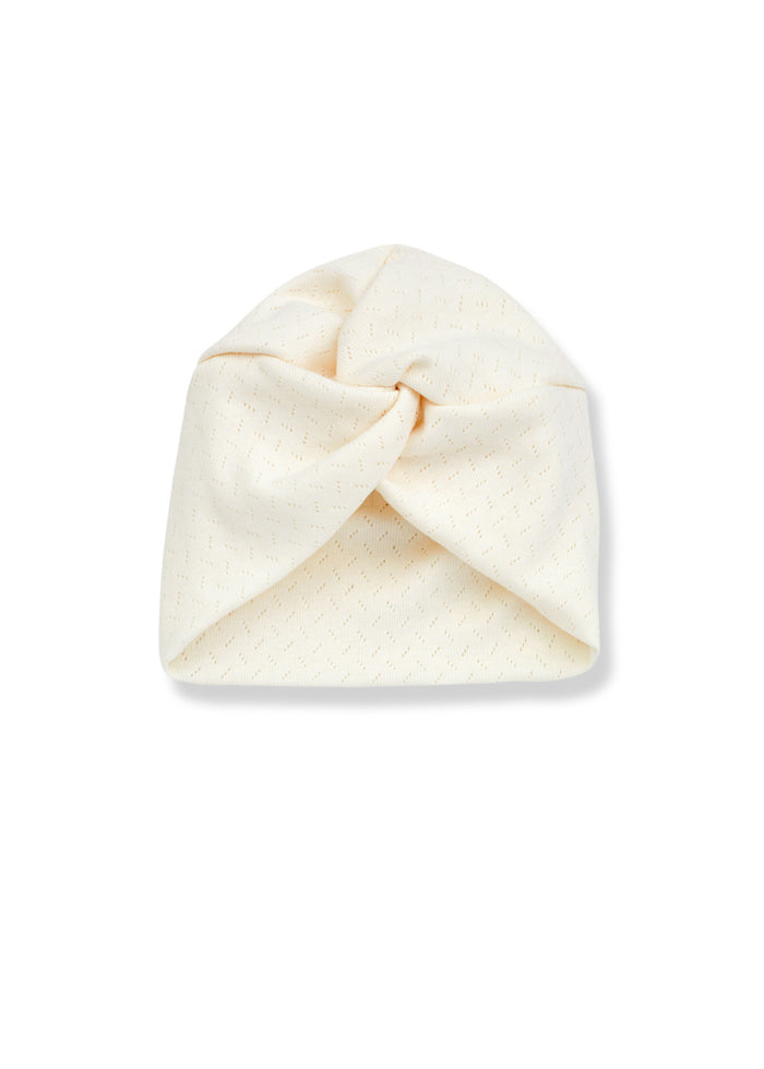 MIA POINTELLE TURBAN HAT - ECRU