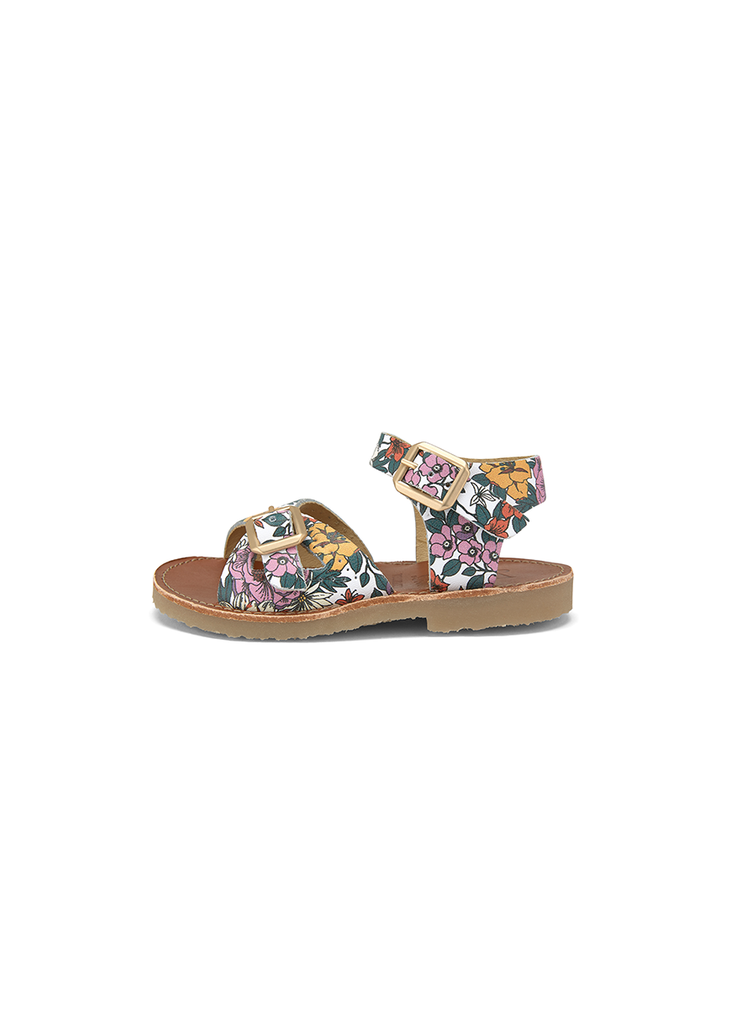 PEARL FLORAL PRINT SANDALS