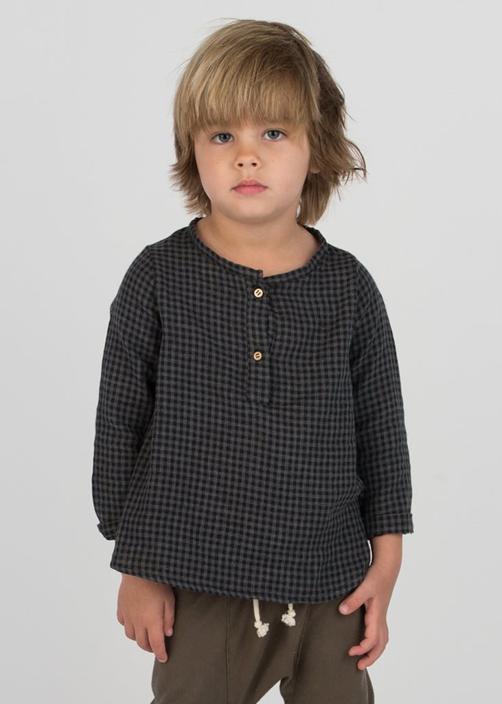 PLAID PLACKET TOP - BLACK
