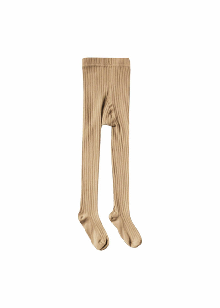 SOLID RIBBED TIGHTS - HONEY