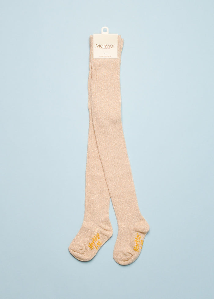 LUREX KNIT TIGHTS - CHAMPAGNE