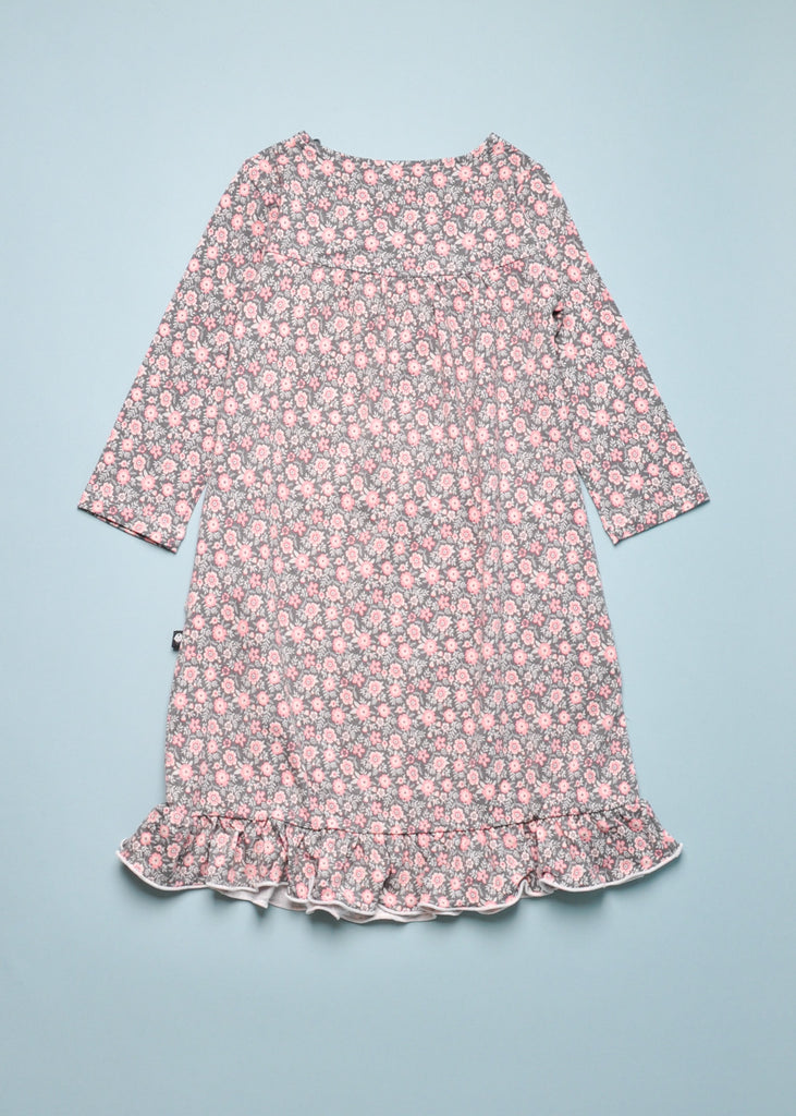 BAMBOO FLORAL PAJAMA DRESS - CHARCOAL