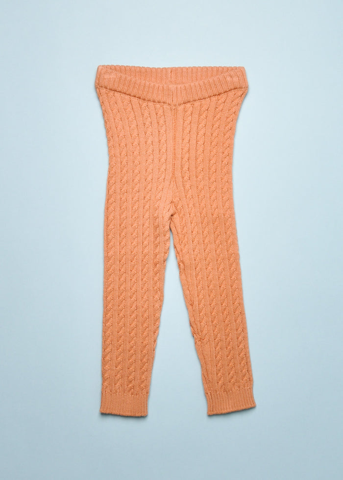 CABLE KNIT LEGGINGS - PECAN