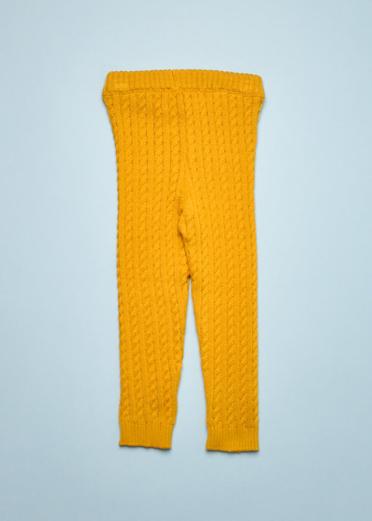 CABLE KNIT LEGGINGS - MUSTARD
