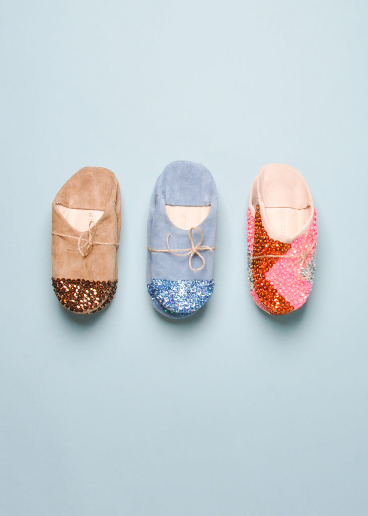 SEQUIN SLIPPERS - BROWN SUEDE