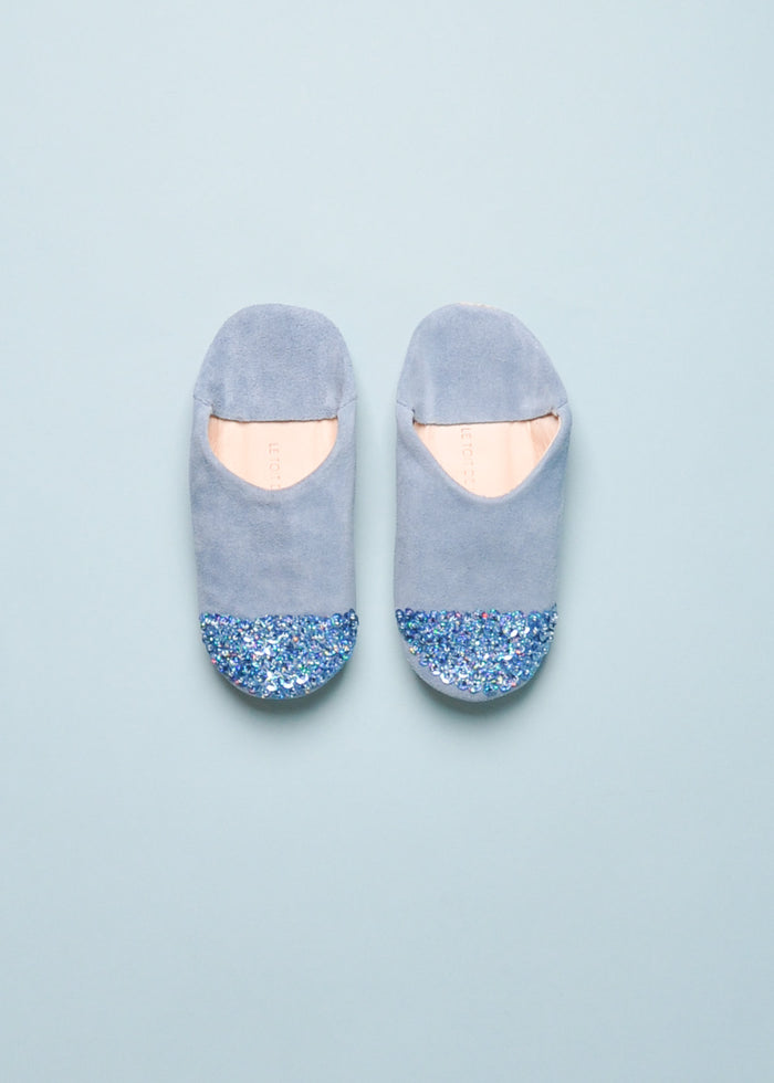 SEQUIN SLIPPERS - BLUE SUEDE