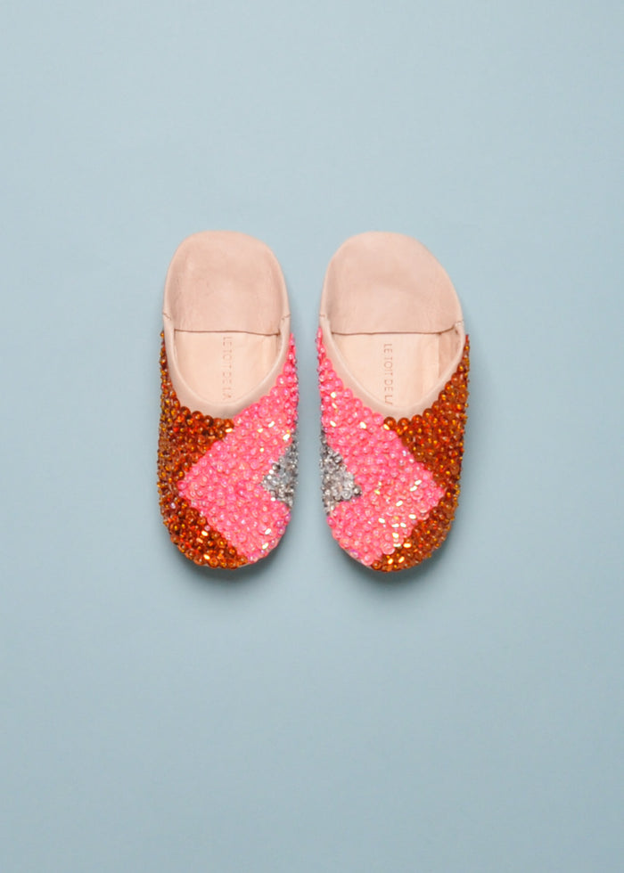 SEQUIN SLIPPERS - PINK NATURAL